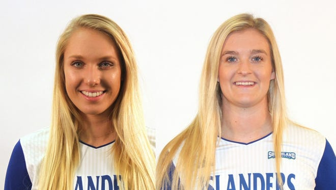 Texas A&M-Corpus Christi will honor seniors Kate Klepetka (left) and Morgan Carlson on Saturday in the home finale against Nicholls.