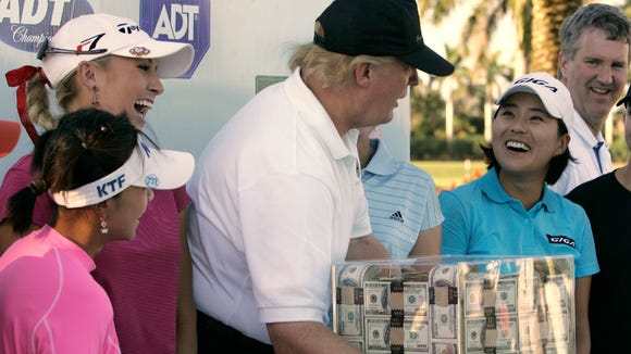 President Trump has a warm relationship with many LPGA Tour players, as seen here in 2006.
