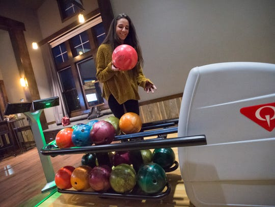 Ali Fitzgerald bowls a round at the in-house bowling