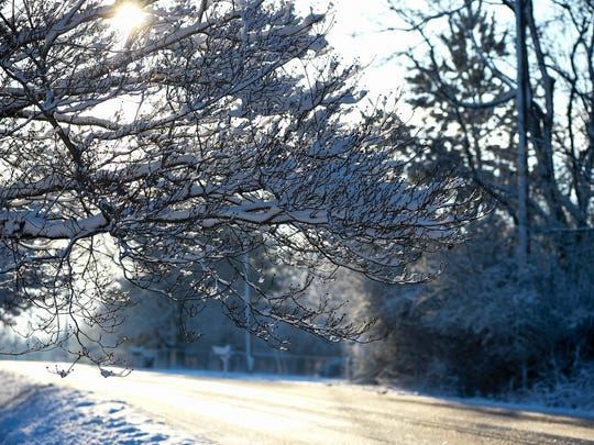 Residents woke up to snow in Joelton, Tenn., Monday, March 12, 2018.