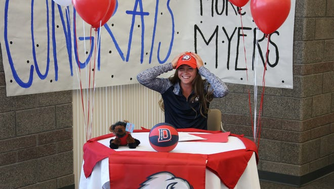 Desert Hills girls basketball player Morgan Myers signs an NLI to Dixie State Wednesday, April 12, 2017.