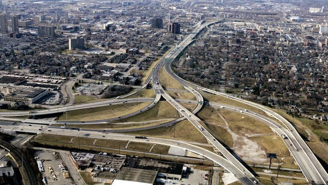 View looking west toward the I-65/I-70 north split in an aerial view taken on Dec.18, 2006.