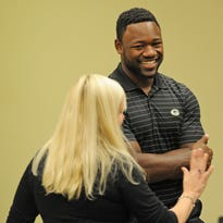 Green Bay Packers wide receiver Ty Montgomery talks about domestic violence during a meeting at Lambeau Field.