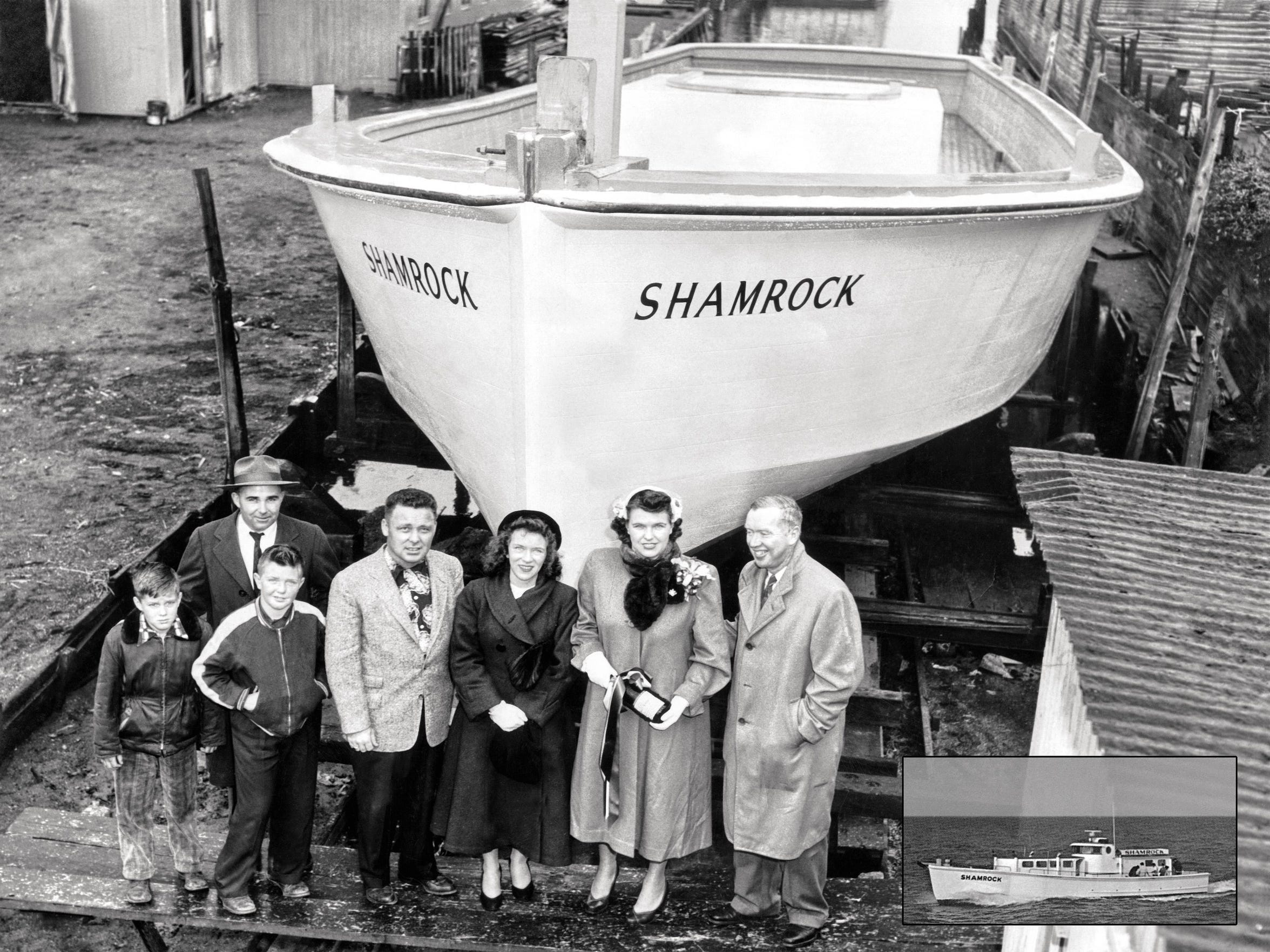 948 - SHAMROCK Hull Launch 1953 (Edited Collage)