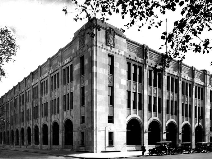 The Detroit News building is seen in 1917, soon after