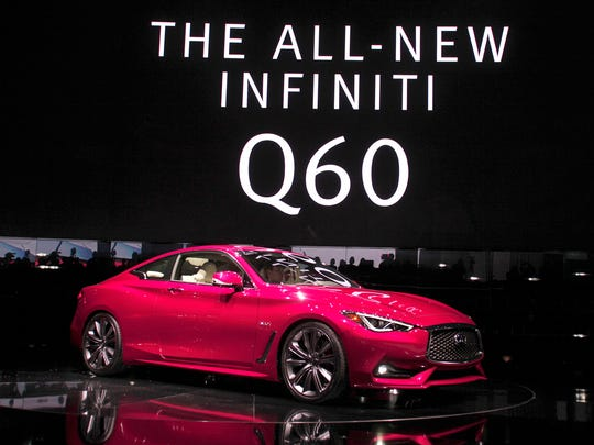 The 2017 Infiniti Q60 is revealed to the news media