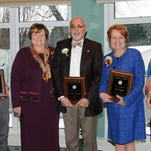 Pictured at Salisbury's annual Service Awards from left, are Pfeiffer, Wilson, O'Loughlin, President Dudley-Eshbach, Khazeh, Brown, Kundell and Esham.