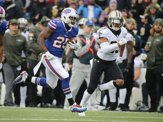 Bills running back LeSean McCoy  runs for 36-yards on this play against the Saints.