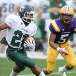 DeMichael Harris (5) and St. Aloysius left the Mississippi High School Activities Association on Wednesday for the Mississippi Association of Independent Schools. St. Joseph (Greenville) also left, and both schools are in Region 2-1A. Four football teams in that region already had two open dates and now could face up to four.