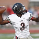 Clinton quarterback Cam Akers (3) throws deep for a touchdown against Ridgeland on Friday, August 28, 2015, at Ridgeland High School in Ridgeland, Miss.