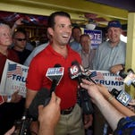 Donald Trump Jr. speaks to the media at a cabin rented by the Trump campaign at the Neshoba County Fair on Tuesday, July 26, 2016.
