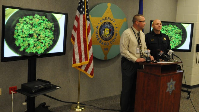 Winnebago County Sheriff's Capt. Dave Mack, left, and Sheriff John Matz, answer questions during a 2015 news conference about a marijuana-growing operation in the town of Vinland.