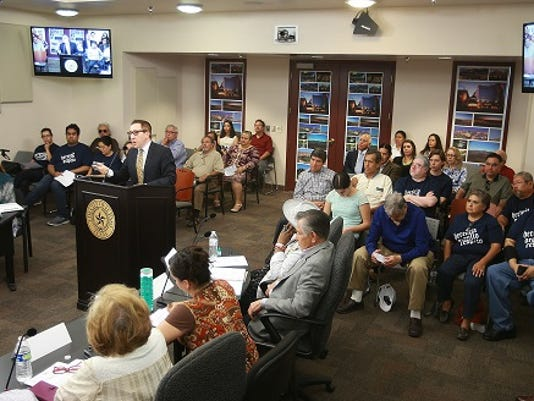 VICTOR CALZADA-EL PASO TIMES Ben Fyffe of the city's Museum and Cultural Affairs Department spoke about the Hispanic Cultural Center Wednesday at City Hall.