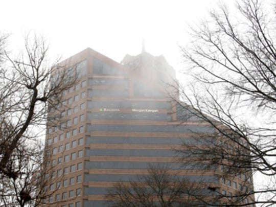 The Raymond James building (formerly the Morgan Keegan building) disappears in the fog hovering over Downtown.
