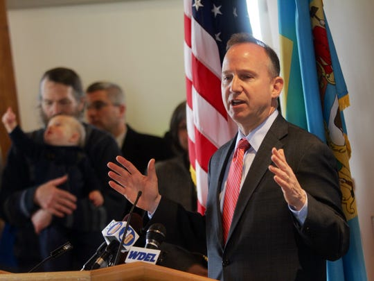 Gov. Jack Markell speaks Tuesday morning at the DuPont Environmental Education Center.