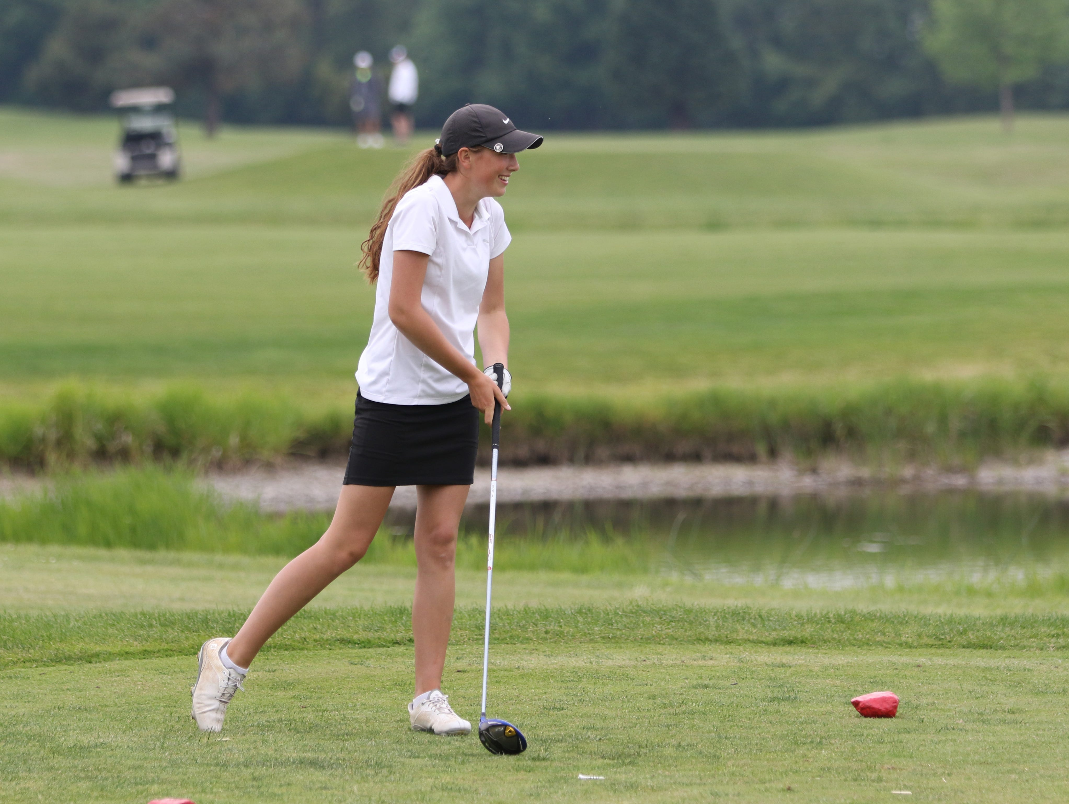 South Salem's Ellie Slama tees off during the final day of the Greater Valley Conference District Golf Tournament on Tuesday, May 3, 2016, at Trysting Tree Golf Club in Corvallis, Ore.