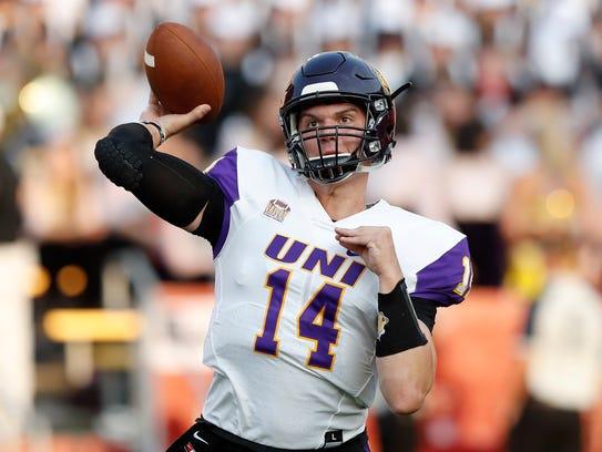 Northern Iowa quarterback Eli Dunne warms up before