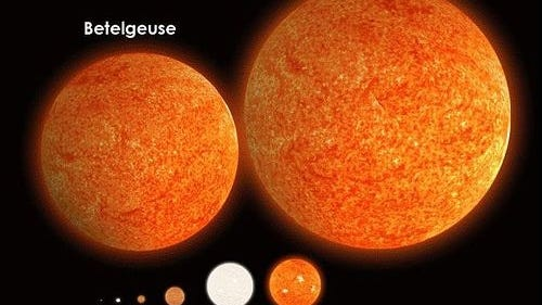 """Antares is pictured with seven other stars to compare their sizes. The sun, labeled here as """"Sol,"""" is the little speck at the bottom left. [Photo by Rainfall (Own work) [CC BY-SA 4 (https://creativecommons.org/licenses/by-sa/4)], via Wikimedia Commons]"""
