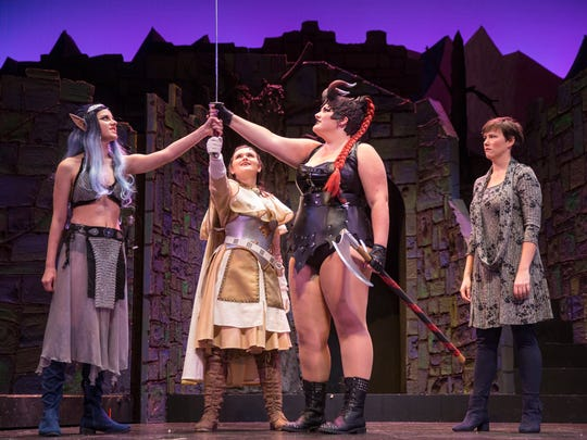 """The cast of the production """"She Kills Monsters"""" during their first dress rehearsal at the Sugden Community Theatre in Naples on on Wednesday, October 4, 2017."""