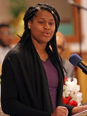Nia Spann speaks during  the Spring Valley NAACP youth