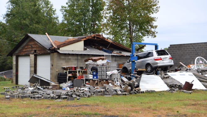 The roof was ripped off of a storage building on Will Hanks Road in Honea Path.