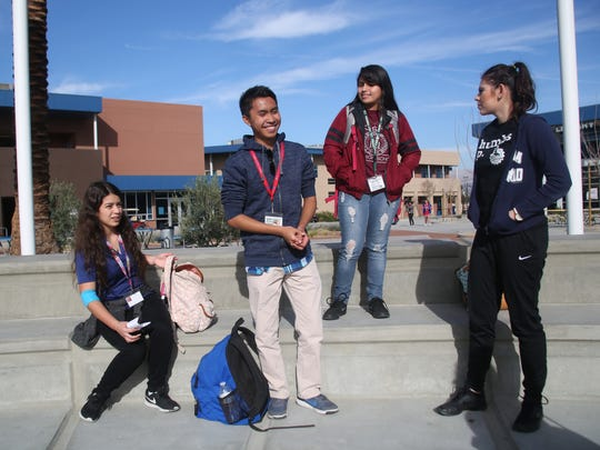 From left to right, Xitlali Casarrubias, Raymond Sarmiento, Eva Murillo and Jennifer Rocha are photographed at Indio High School in January 2017.