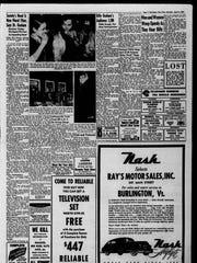 Burlington Free Press coverage from April 8, 1950, of the Rev. Billy Graham's appearance at Memorial Auditorium in Burlington.