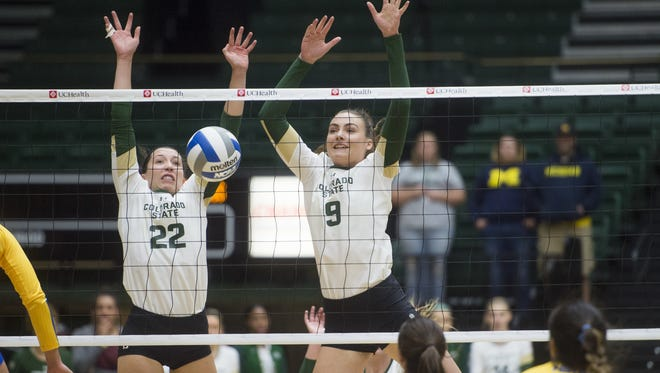 The CSU volleyball team returns most of its key players from last year, including setter Katie Oleksak, left, and middle blocker Paulina Hougaard-Jensen.