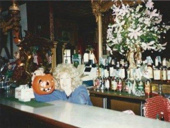 Betty Meyer at the bar at Bullwinkle's, circa 1997.