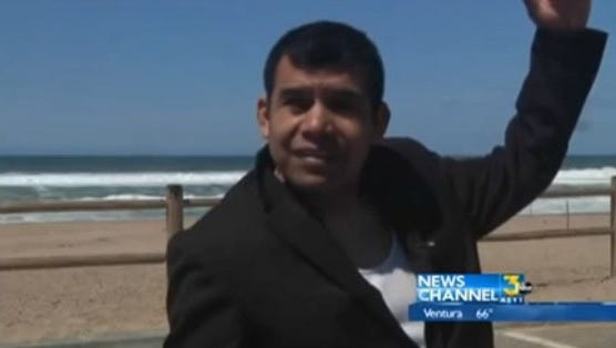 Pastro Maurigro Cervantes, shown in a frame grab from KCOY-TV,  describes how his cousin helping him with a beachside baptism was swept to sea on March 30 in Guadalupe, Calif.