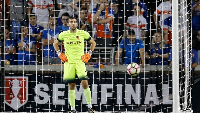 FC Cincinnati goalkeeper puts his hands on his hips after allowing the game-tying goal in the second half of the Lamar Hunt U.S. Open Cup Semifinal match between FC Cincinnati and the New York Red Bulls at Nippert Stadium in Cincinnati on Tuesday, Aug. 15, 2017. The Red Bulls came from a 2-0 deficit to win 3-2 in overtime.