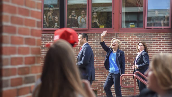 Democratic presidential candidate Hillary Clinton stops at Chappaqua's Horace Greeley High School before a campaign rally at Purchase College, March 31, 2016.