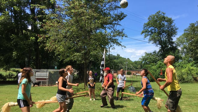 On Aug. 13, 2017 at Mia and Chris Pugh's home in Churchville, players from the four houses of Hogwarts practice quidditch in preparation for last year's Queen City Mischief & Magic.