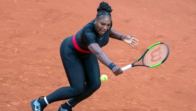 Serena Williams in action during her match against Kristyna Pliskova at the French Open tennis tournament at the Roland Garros stadium in Paris.