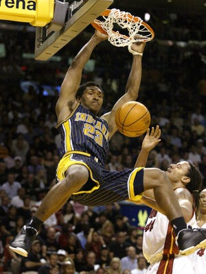 Indiana?s Metta World Peace (All-Star in 2003-04) dunks in front of Miami?s Brian Grant. Peace had one of his top scoring seasons along with one of his many elite defensive seasons in 2003-04, as his defensive win share (5.2) was second on the team.   Sam Riche/IndyStar file photo Indiana's Ron Artest (All-Star in 2003-04) slams home this dunk against Miami's Brian Grant. The Indiana Pacers traveled to Miami, FL to battle the Miami Heat Monday night, May 10, 2004 at American Airlines Arena in game three of the Eastern Conference semifinals.