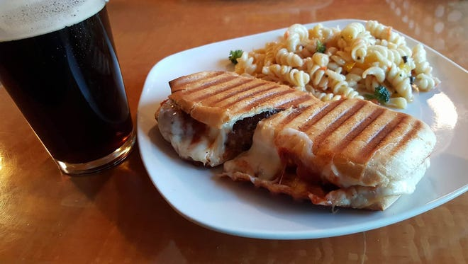 Meatball Panini with the pasta salad ($8) and a beer.