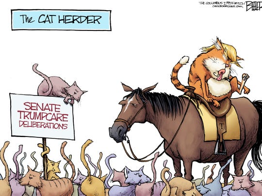 Nate Beeler, The Columbus Dispatch, drew this editorial cartoon.