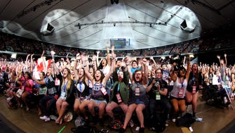 A huge group of young YouTube fans at the Vidcon conference in Anaheim, California.