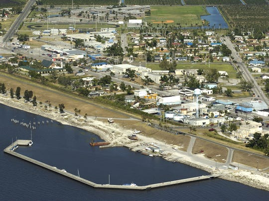An aerial view looking eastward at the city of Pahokee,