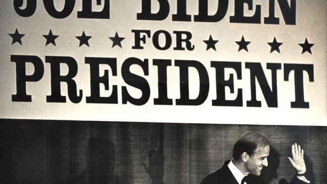 Sen. Joe Biden announces his intention to run for president at a dinner in Wilmington. April 28, 1987.