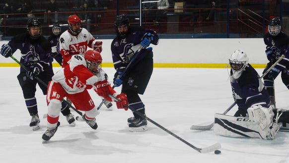 North Rockland forward Chris Hilliard attempts to control