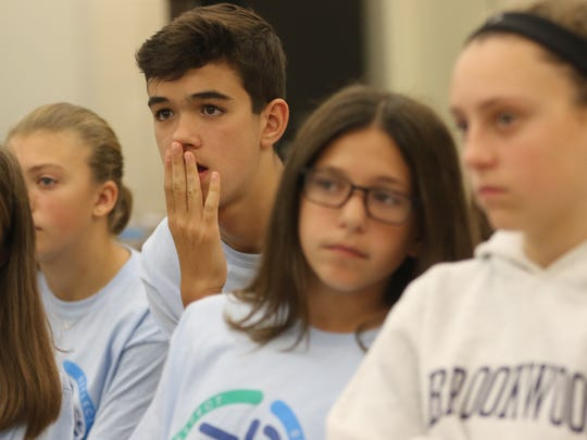 Ryan Gruno and his eighth-grade classmates listen to Bella Miller (not shown) on Monday as she talks about how she and her mother survived the Holocaust.