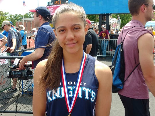 Nicolet's Destiny Huven won the 100-meter hurdles state