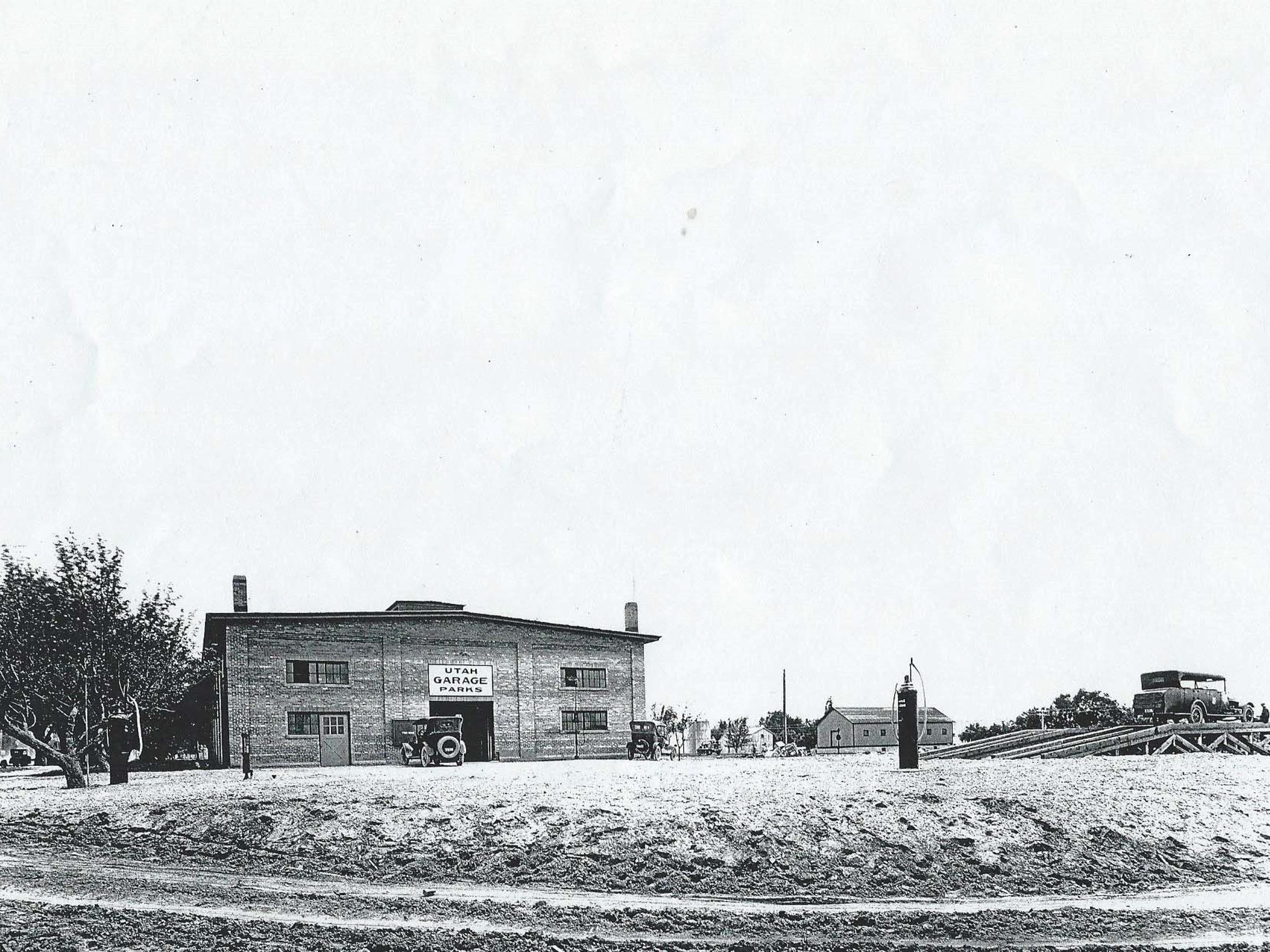 A historical image of the bus garage.
