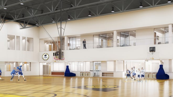 Rendering of the inside of Pacers' new St. Vincent Center.