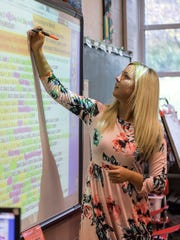 Math teacher Megan Beard uses a SMART board in her classroom at Perry Heights Middle School.
