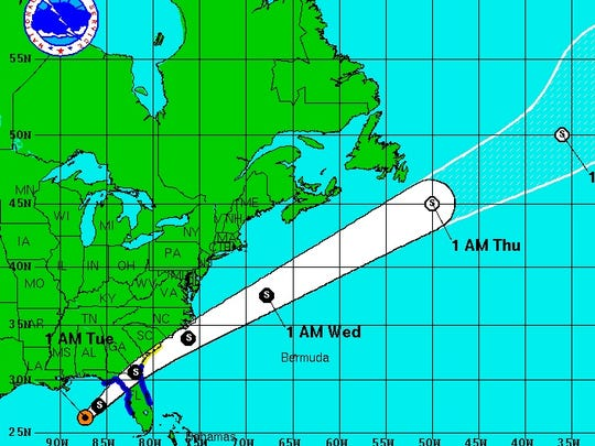 The forecast track for Tropical Storm Colin.