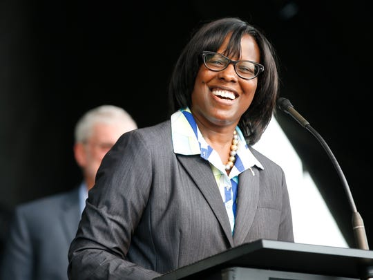 Kentucky Lt. Gov. Jenean Hampton speaks at the Ark Encounter theme park during a media preview day, Tuesday, July 5, 2016, in Williamstown, Ky.