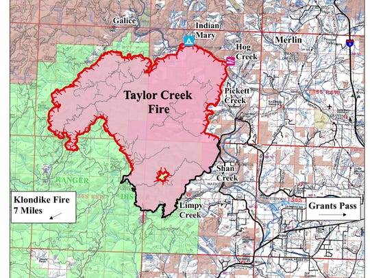 Map of Taylor Creek Fire as of Thursday afternoon
