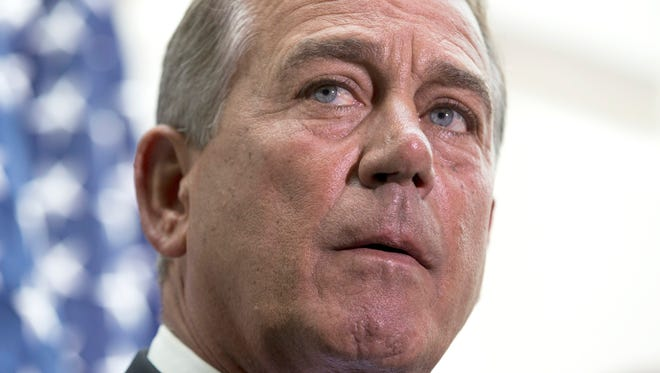 House Speaker John Boehner of Ohio participates in a news conference on Capitol Hill in Washington, Wednesday, July 9, 2014. Boehner addressed questions on a $3.7 billion request for emergency funds to secure the U.S. and Mexican border.